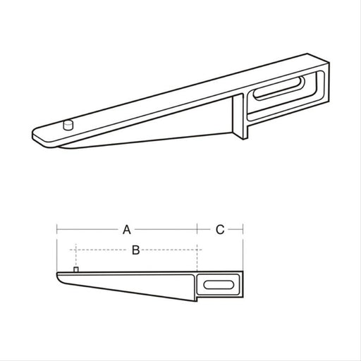 Armitage Shanks Brackets Build-In Aluminium Alloy, 405mm Overall, 355mm Stud (Pair) - Unbeatable Bathrooms