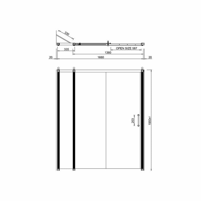 Burlington 110cm Soft Close Bath Slider - Diagram Image