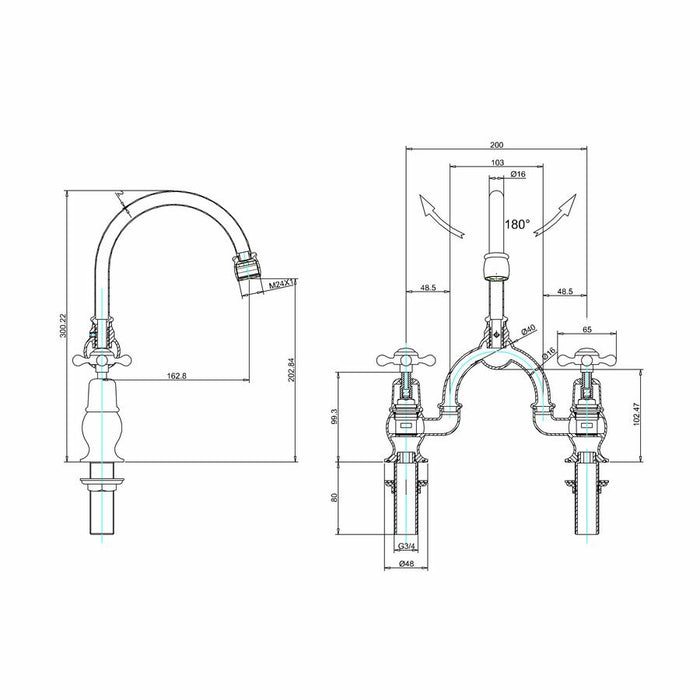 Burlington 2 Tap Hole Arch Mixer with 200mm Centres Curved Spout - Diagram Image