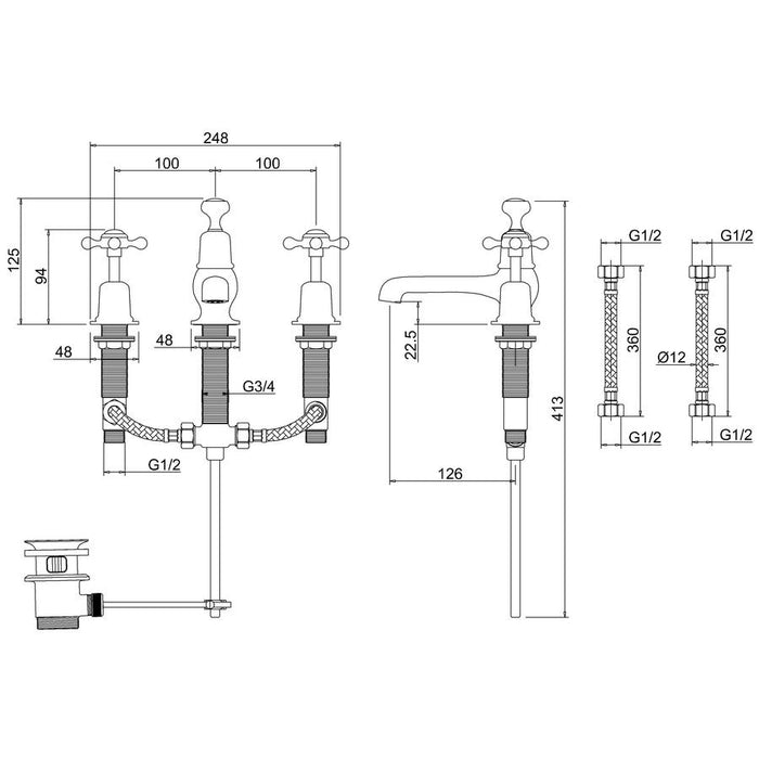 Burlington 3 Tap Hole Basin Mixer with Pop Up Waste - Diagram Image