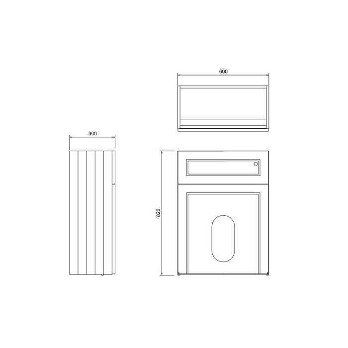 Burlington 60cm Back To Wall WC Unit and Regal Back To Wall Pan, Including The Cistern Tank-W60O+P15-Diagram Image