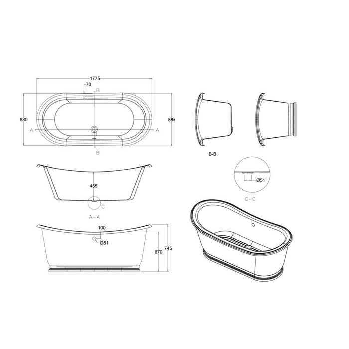 Burlington Admiral 180cm Bath-ET6C-Diagram Image