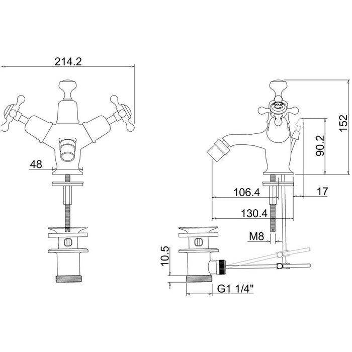 Burlington Anglesey Regent Pop-Up Waste Bidet Mixer with High Central Ceramic Indice - Diagram Image