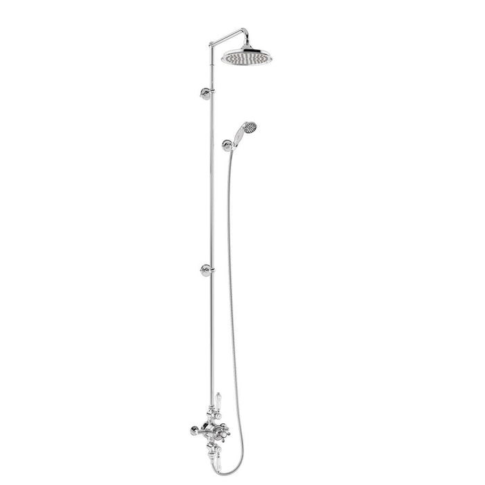 Burlington Avon Thermostatic Exposed Shower Valve Two Outlet Extended Rigid Riser Swivel Shower Arm Handset & Holder with Hose - Unbeatable Bathrooms