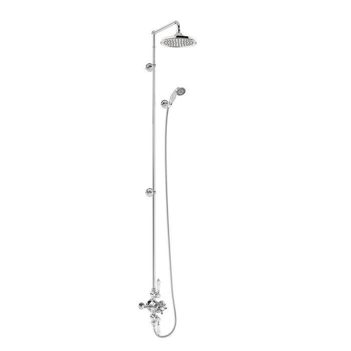 Burlington Avon Thermostatic Exposed Shower Valve Two Outlet Extended Rigid Riser Swivel Shower Arm Handset & Holder with Hose - BAF3S.EXT-V17