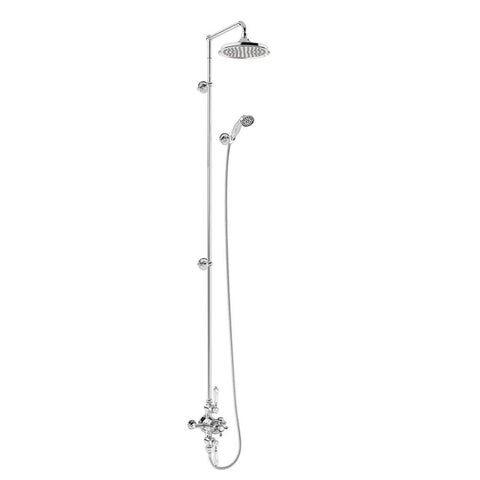 Burlington Avon Thermostatic Exposed Shower Valve Two Outlet Extended Rigid Riser Swivel Shower Arm Handset & Holder with Hose - BAF3S.EXT-V60