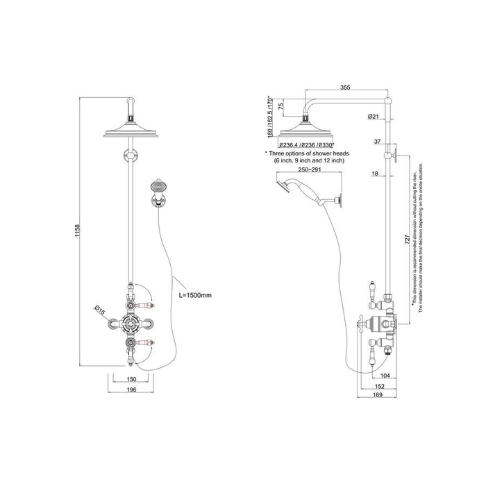 Burlington Avon Thermostatic Exposed Shower Valve Two Outlet Extended Rigid Riser Swivel Shower Arm Handset & Holder with Hose - Diagram Image