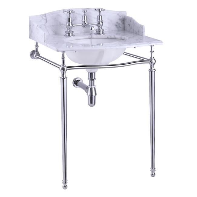 Burlington Carrara Marble Top & Basin with Basin Stand - Unbeatable Bathrooms
