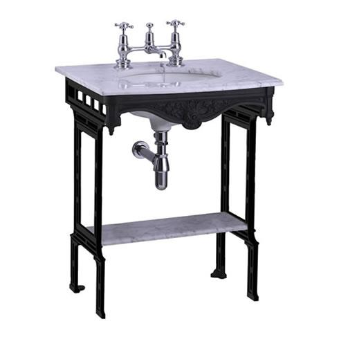 Burlington Carrara Marble Top & Basin with Black Aluminium Washst and - G1 2TH+T48 BLA+G11+WOBSS