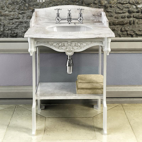 Burlington Carrara Marble Top & Basin with Black Aluminium Washst and - G1 2TH+T48 BLA+WBSS