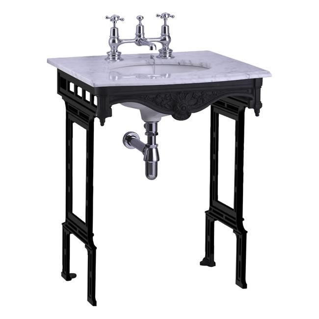 Burlington Carrara Marble Top & Basin with Black Aluminium Washst and - G1 2TH+T48 BLA+WOBSS