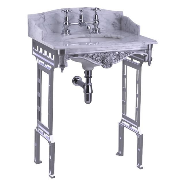 Burlington Carrara Marble Top & Basin with Brushed Aluminium Washstand Additional View 1
