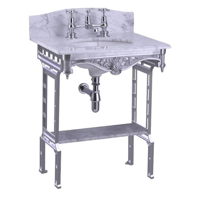 Burlington Carrara Marble Top & Basin with Brushed Aluminium Washstand - G1 2TH+T38 ALU+G11+WBS