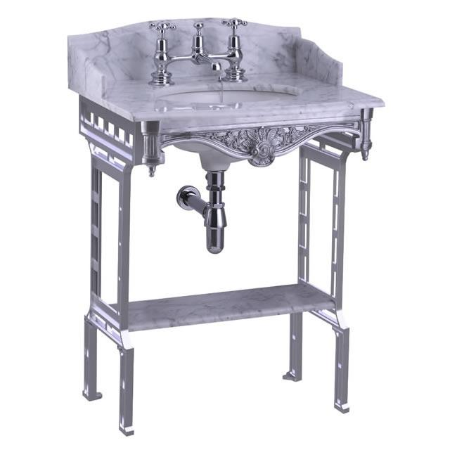 Burlington Carrara Marble Top & Basin with Brushed Aluminium Washstand - G1 2TH+T38 ALU+G11+WBSS