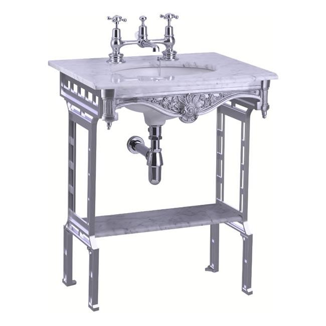 Burlington Carrara Marble Top & Basin with Brushed Aluminium Washstand - G1 2TH+T38 ALU+G11+WOBSS