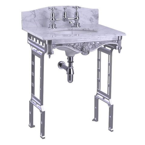 Burlington Carrara Marble Top & Basin with Brushed Aluminium Washstand - G1 2TH+T38 ALU+WBS