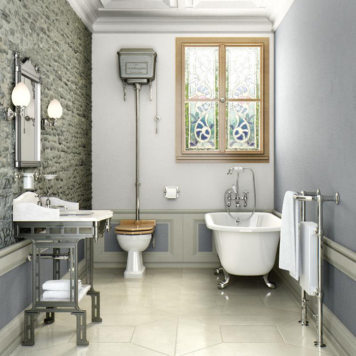 Burlington Carrara Marble Top & Basin with Brushed Aluminium Washstand - G1 2TH+T38 ALU+WBSS