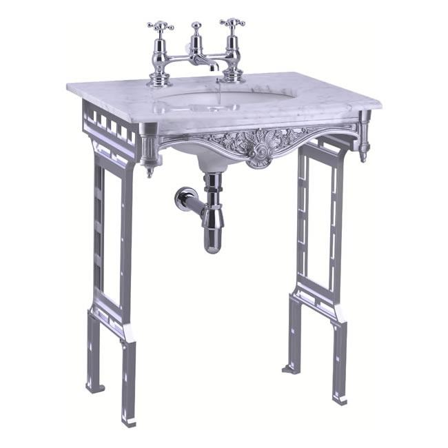 Burlington Carrara Marble Top & Basin with Brushed Aluminium Washstand - G1 2TH+T38 ALU+WOBSS
