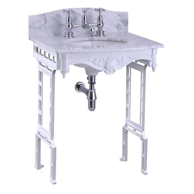 Burlington Carrara Marble Top & Basin with White Aluminium Washstand - Unbeatable Bathrooms