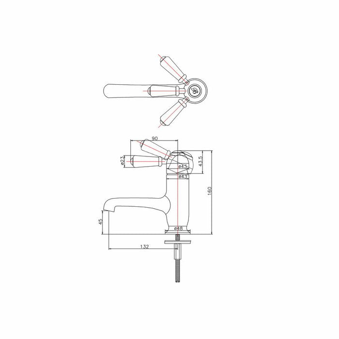 Burlington Chelsea Straight Basin Mixer - Diagram Image