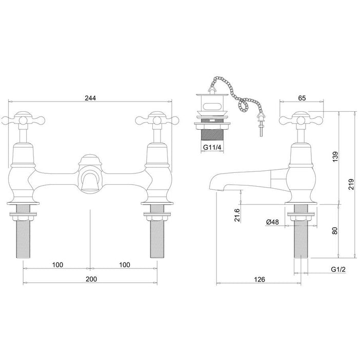 Burlington Claremont 2 Tap Hole Bridge Low Central Indice Basin Mixer with Plug and Chain Waste and Swivel Spout - Diagram Image