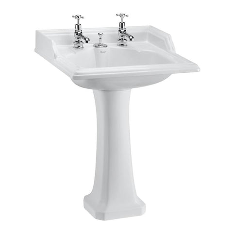 Burlington Classic 65cm Basin with Invisible Overflow and Classic Standard Pedestal - Unbeatable Bathrooms