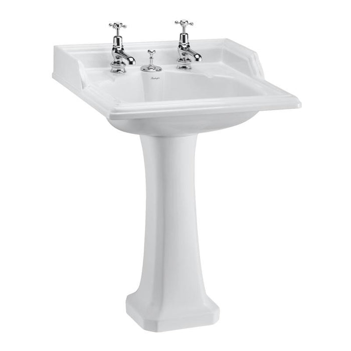 Burlington Classic 65Cm Basin with Invisible Overflow and Classic Standard Pedestal - B14+P6+W9