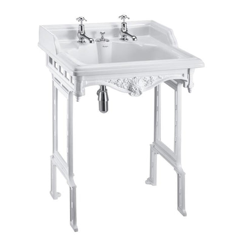 Burlington Classic 65cm Basin with Invisible Overflow and White Aluminium Basin Stand - Unbeatable Bathrooms