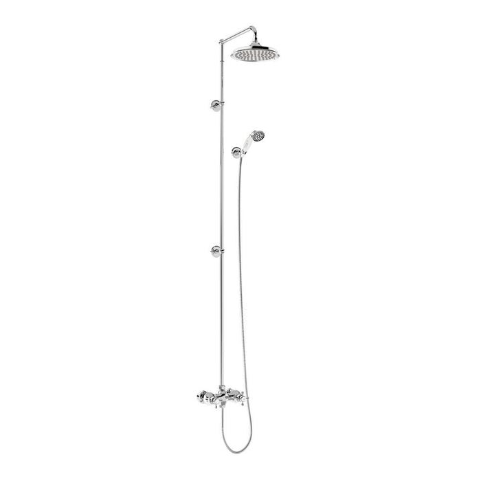 Burlington Eden Thermostatic Exposed Shower Bar Valve Single Outlet with Extended Rigid Riser and Swivel Shower Arm - Unbeatable Bathrooms