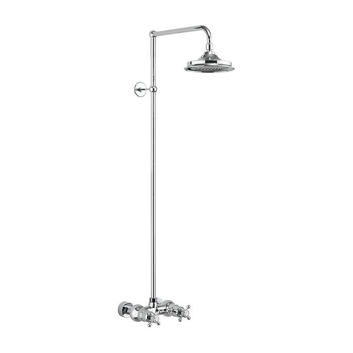 Burlington Eden Thermostatic Exposed Shower Bar Valve Single Outlet with Rigid Riser and Swivel Shower Arm - Unbeatable Bathrooms