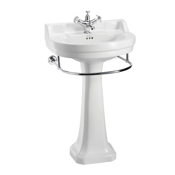 Burlington Edwardian Round 56Cm Basin with Towel Rail and Pedestal