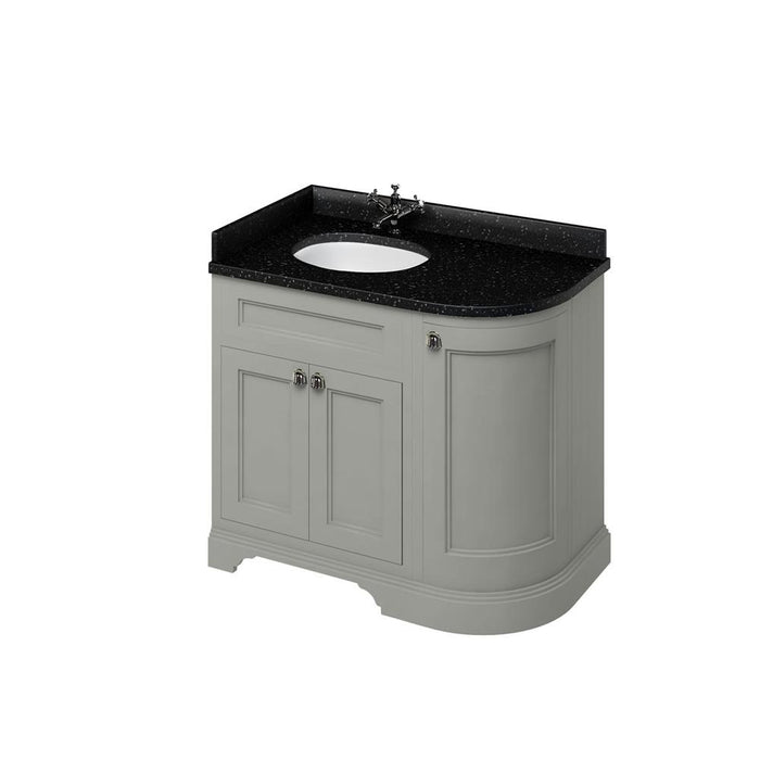 Burlington Freestanding 100 Curved Corner Vanity Unit Left H and Integrated White Basins with Worktop - FC2O+BB98L