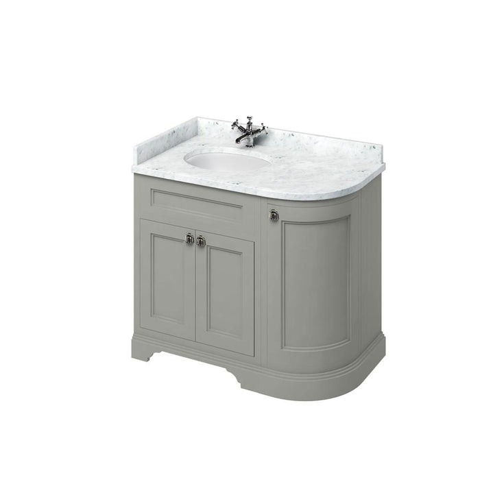Burlington Freestanding 100 Curved Corner Vanity Unit Left H and Integrated White Basins with Worktop - FC2O+BC98L