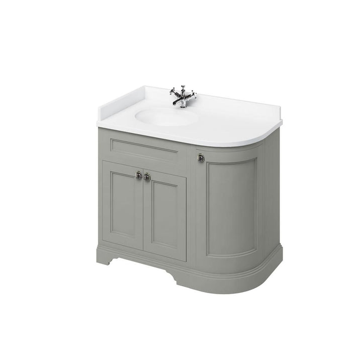 Burlington Freestanding 100 Curved Corner Vanity Unit Left H and Integrated White Basins with Worktop - Unbeatable Bathrooms