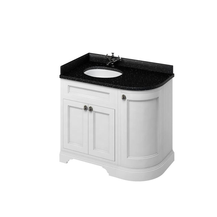 Burlington Freestanding 100 Curved Corner Vanity Unit Left H and Integrated White Basins with Worktop - FC2W+BB98L
