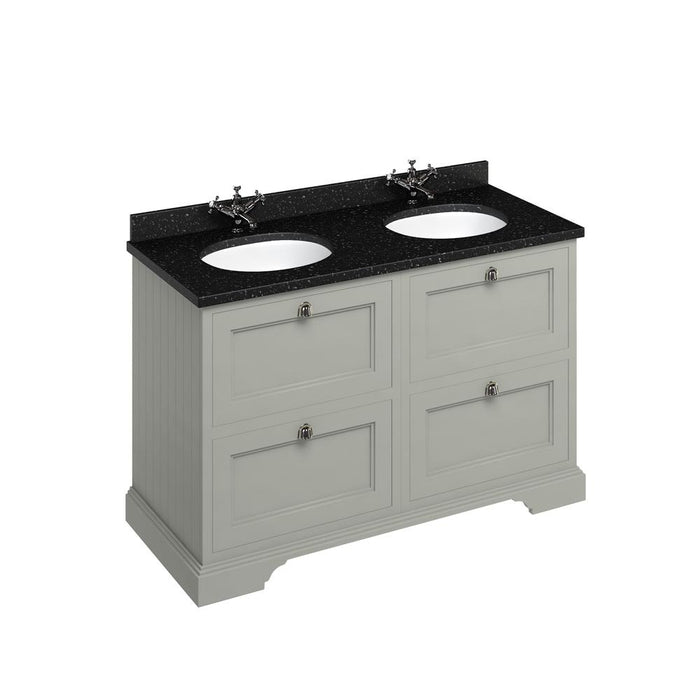 Burlington Freestanding 130 Vanity Unit Two Integrated White Basins with Drawers and Worktop - Unbeatable Bathrooms