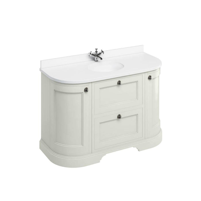 Burlington Freestanding 134 Curved Vanity Unit Integrated Basin with Drawers and Worktop - Unbeatable Bathrooms