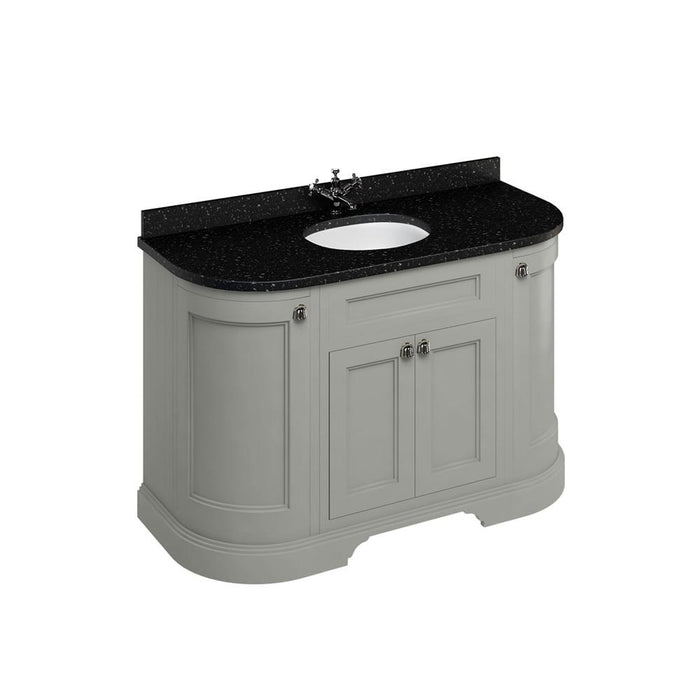 Burlington Freestanding 134 Curved Vanity Unit with Doors with Worktop and Integrated Basin - FC1O+BB13