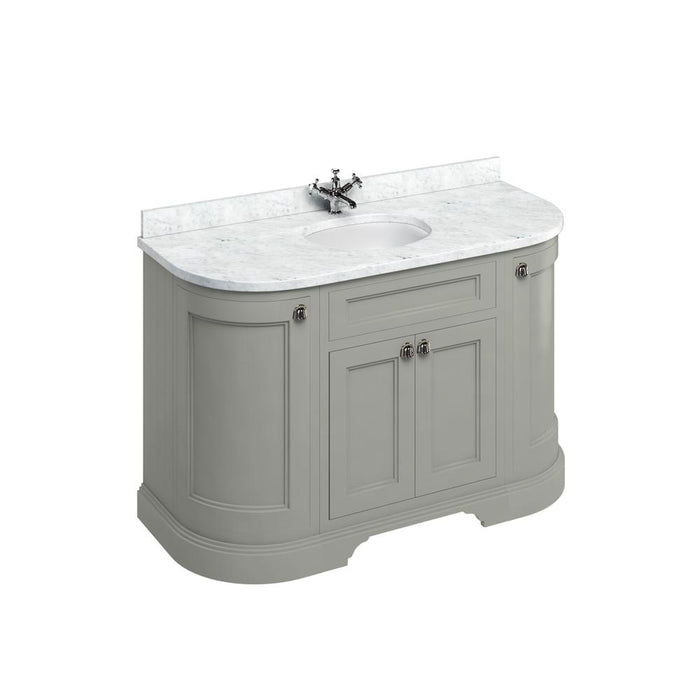 Burlington Freestanding 134 Curved Vanity Unit with Doors with Worktop and Integrated Basin - Unbeatable Bathrooms