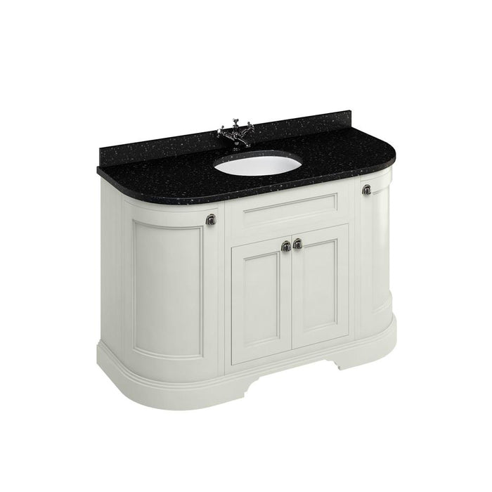 Burlington Freestanding 134 Curved Vanity Unit with Doors with Worktop and Integrated Basin - FC1S+BB13