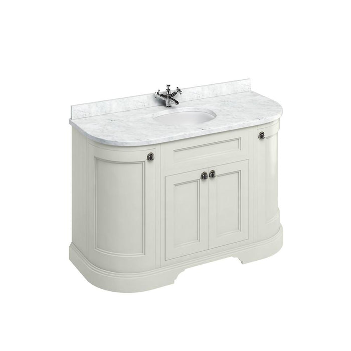 Burlington Freestanding 134 Curved Vanity Unit with Doors with Worktop and Integrated Basin - FC1S+BC13