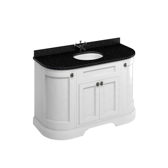 Burlington Freestanding 134 Curved Vanity Unit with Doors with Worktop and Integrated Basin - FC1W+BB13