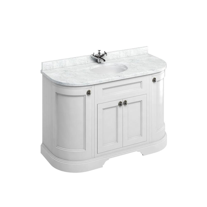 Burlington Freestanding 134 Curved Vanity Unit with Doors with Worktop and Integrated Basin - FC1W+BC13