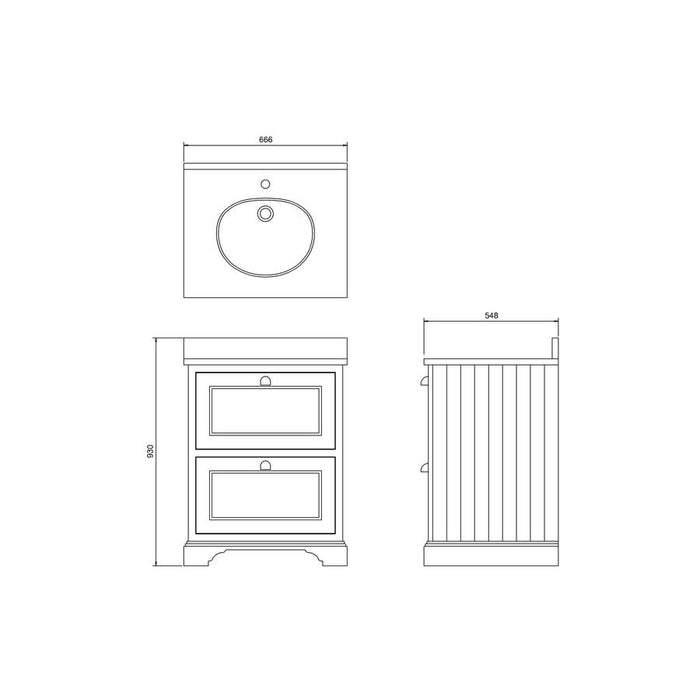 Burlington Freestanding 65 Vanity Unit 2 Drawers Integrated Basin with Worktop - Diagram Image