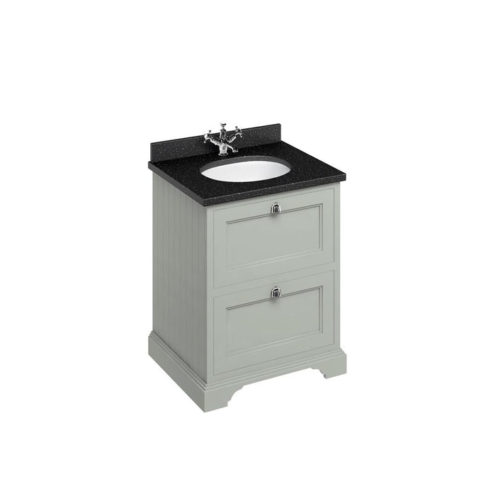 Burlington Freestanding 65 Vanity Unit 2 Drawers Integrated Basin with Worktop - FF9O+BB66