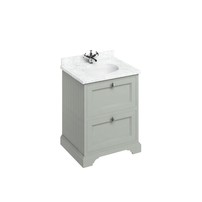 Burlington Freestanding 65 Vanity Unit 2 Drawers Integrated Basin with Worktop - FF9O+BC66