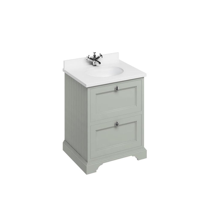 Burlington Freestanding 65 Vanity Unit 2 Drawers Integrated Basin with Worktop - FF9O+BW66