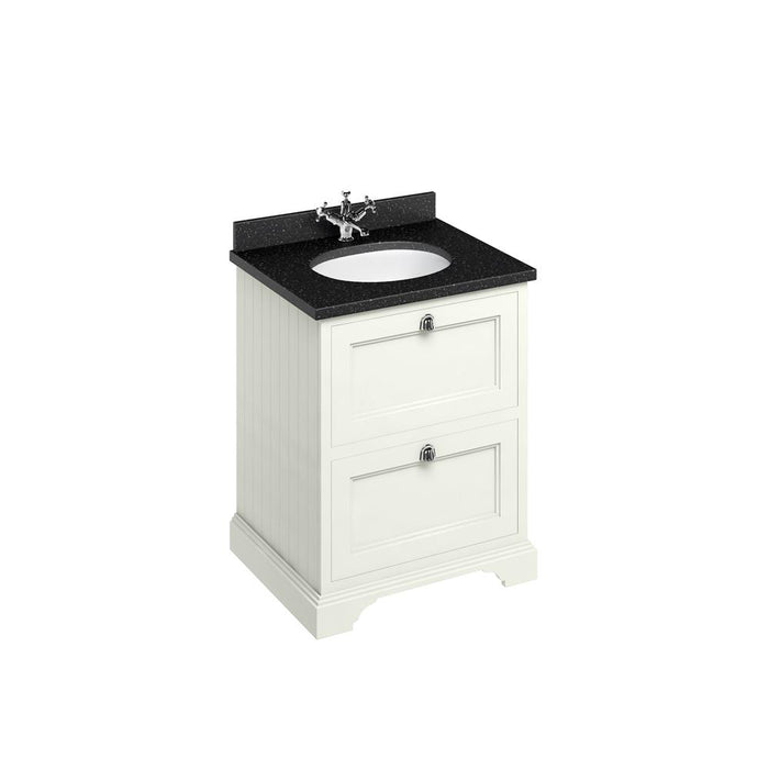 Burlington Freestanding 65 Vanity Unit 2 Drawers Integrated Basin with Worktop - FF9S+BB66