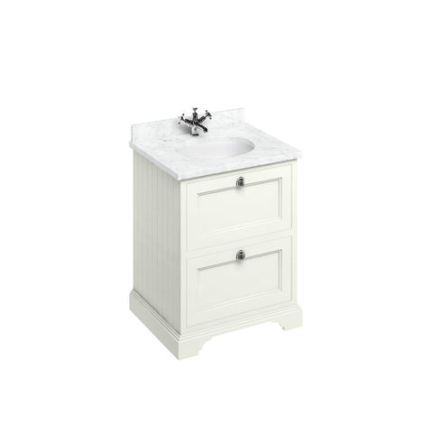 Burlington Freestanding 65 Vanity Unit 2 Drawers Integrated Basin with Worktop - FF9S+BC66