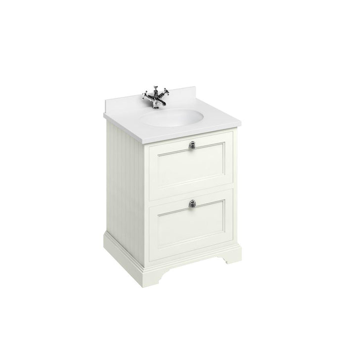 Burlington Freestanding 65 Vanity Unit 2 Drawers Integrated Basin with Worktop - FF9S+BW66
